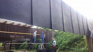 Arbeitseinsatz 50 Meter Bahn Schplitterschutzmatten 2016 (5)