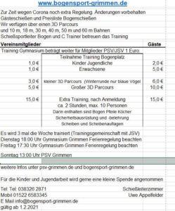 Priesliste Bogenschießen ab 201.02.01